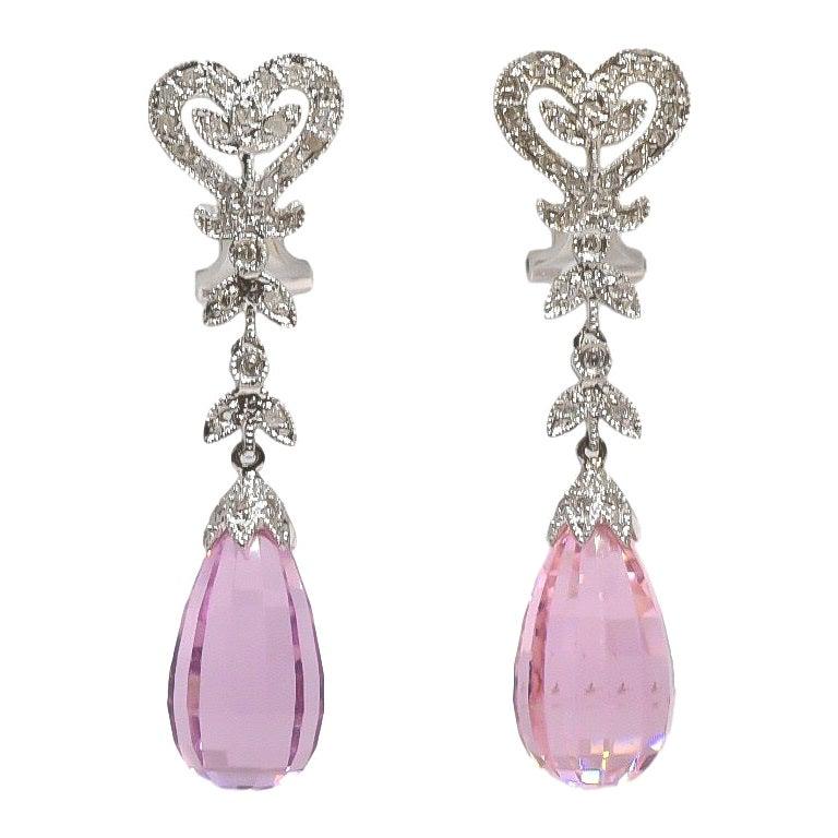 Pink Topaz and Diamond Briolette Dangle Chandelier Omega Earrings