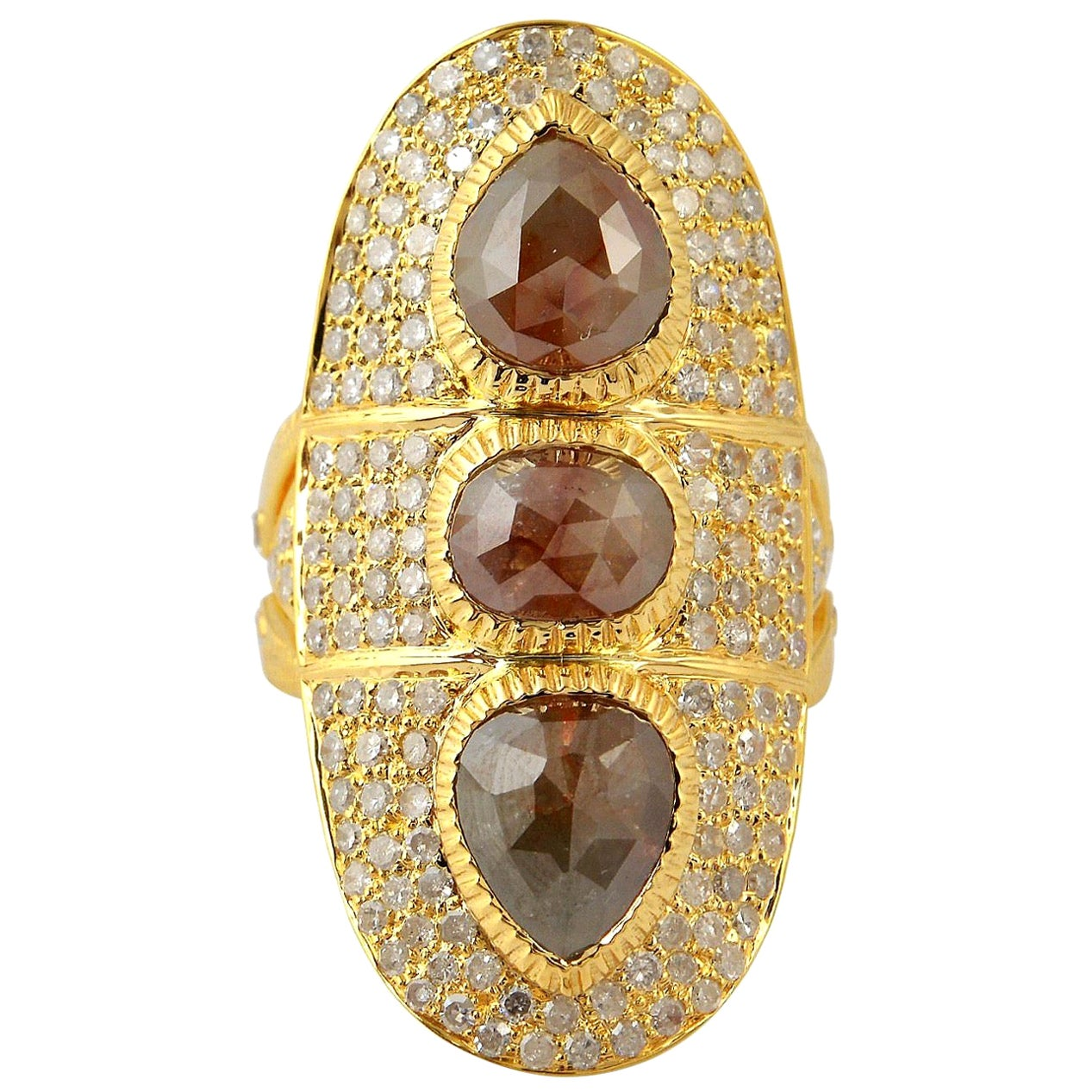6.479 Carat Fancy Diamond 18 Karat Yellow Gold Ring