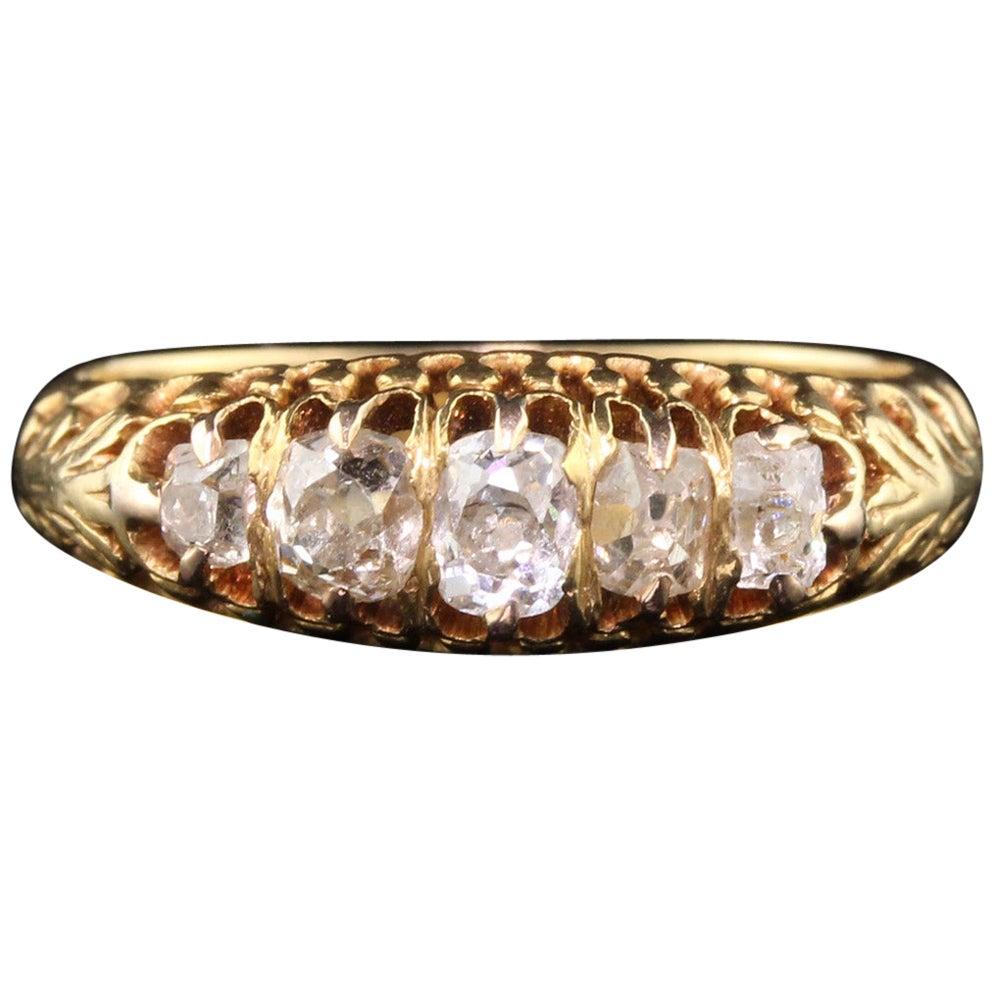Antique Victorian 18 Karat Yellow Gold Diamond Half Hoop Ring