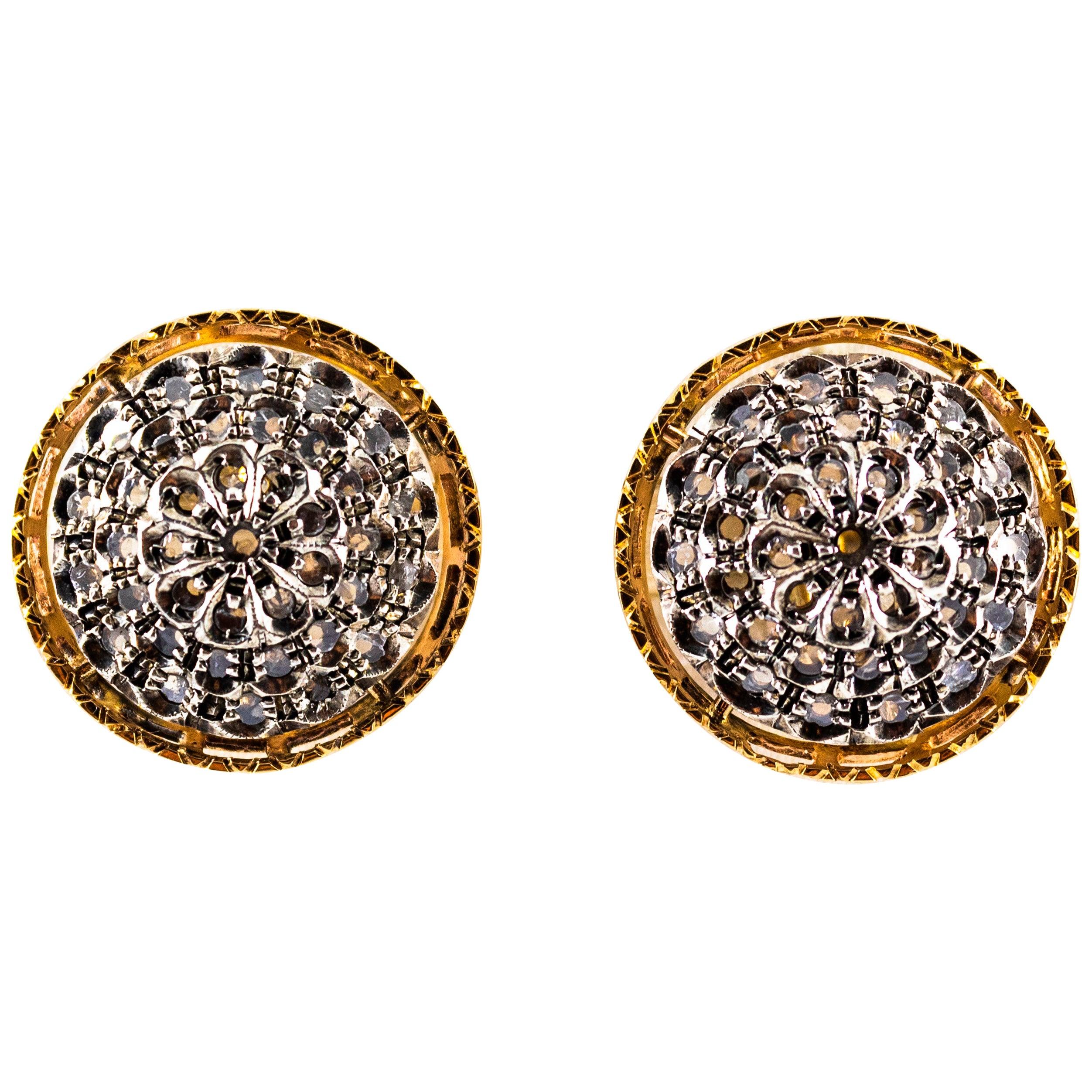Art Deco Style 0.85 Carat White Rose Cut Diamond Yellow Gold Clip-On Earrings