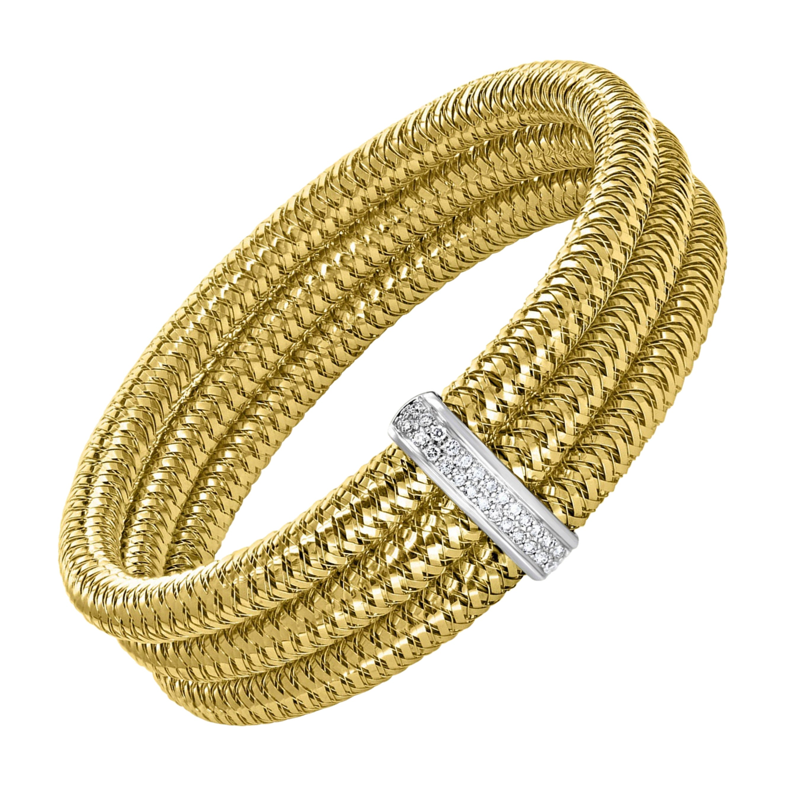 Roberto Coin Diamond Bangle Three-Row Bracelet in 18 Karat Yellow Gold Estate
