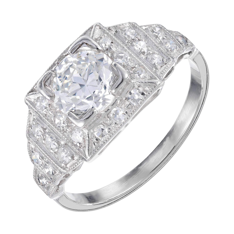 EGL Certified 1.11 Carat Round Diamond Platinum Engagement Ring