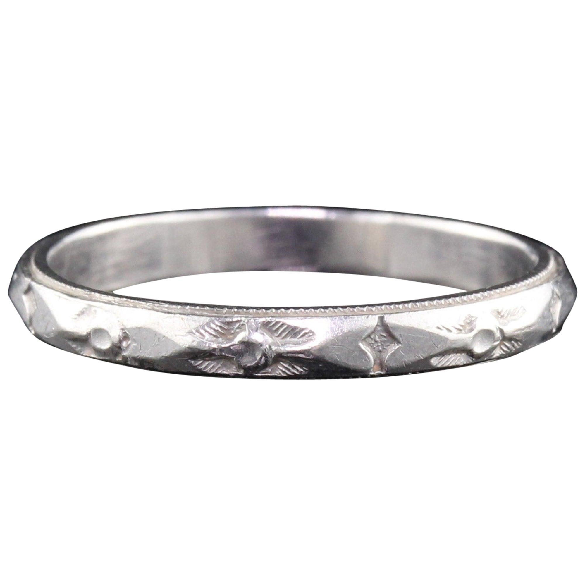 Art Deco Platinum Engraved Wedding Band