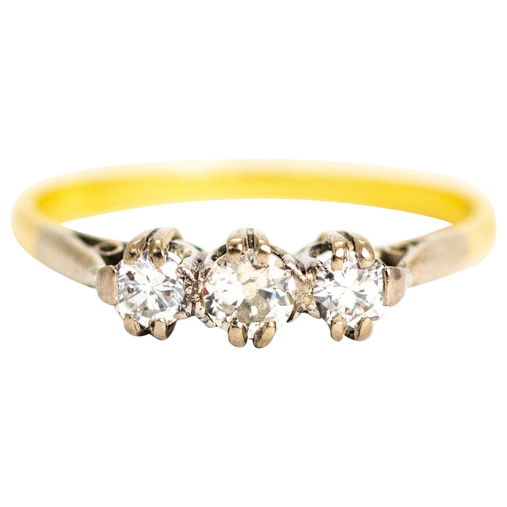 Vintage 18 Carat Gold Diamond Three-Stone Ring
