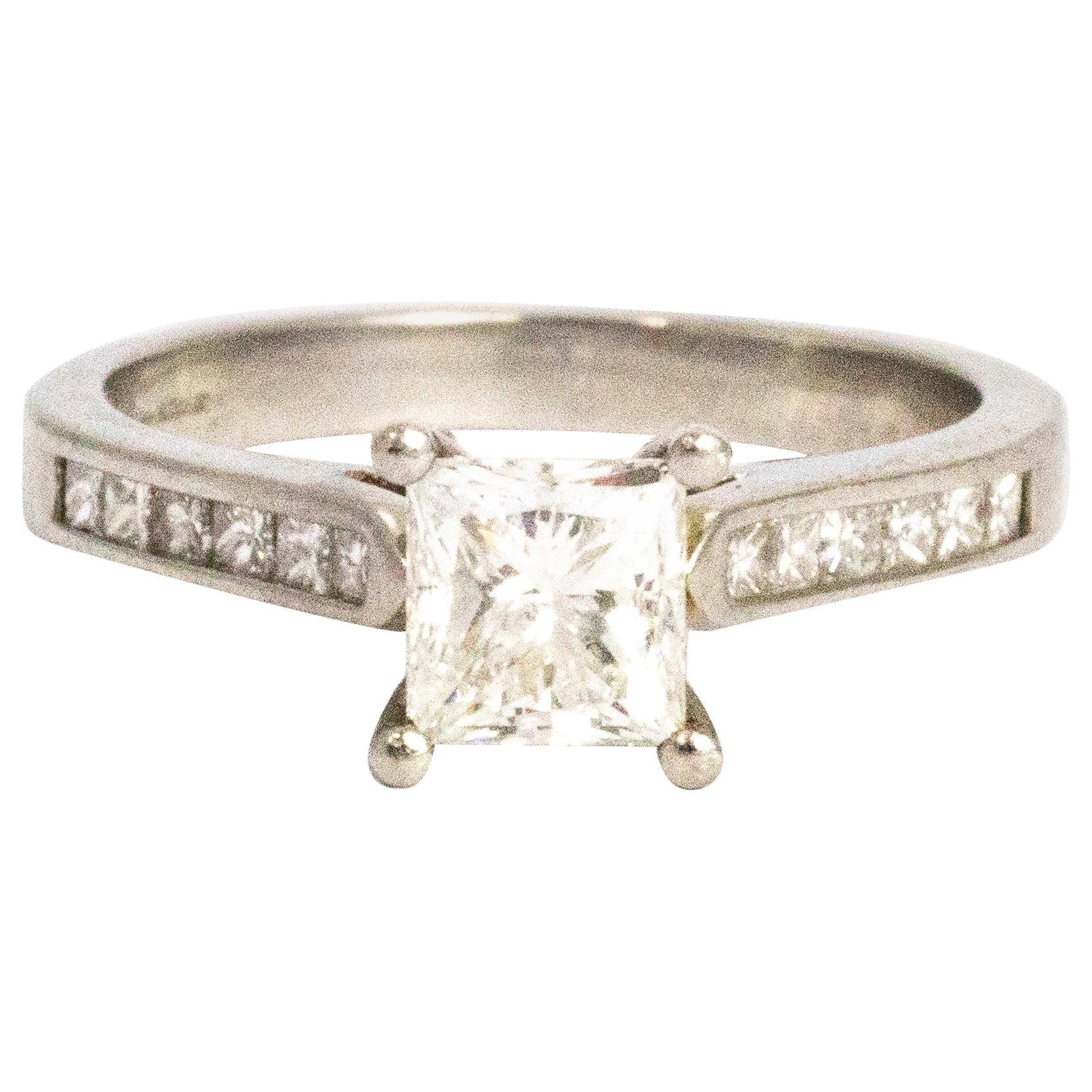 Vintage Princess Cut Diamond and Platinum Ring