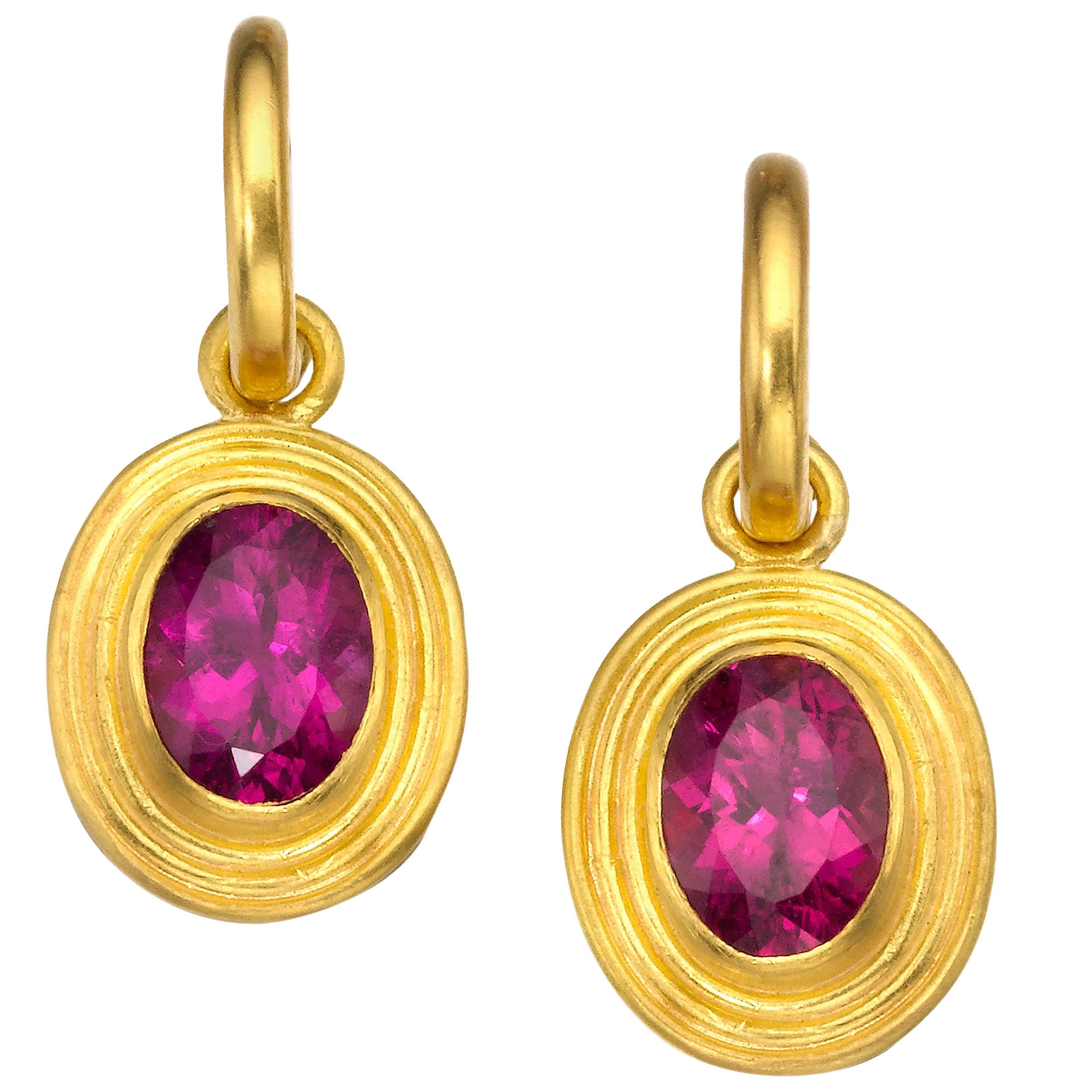 Rubellite and 22 Karat Gold Drop Earrings