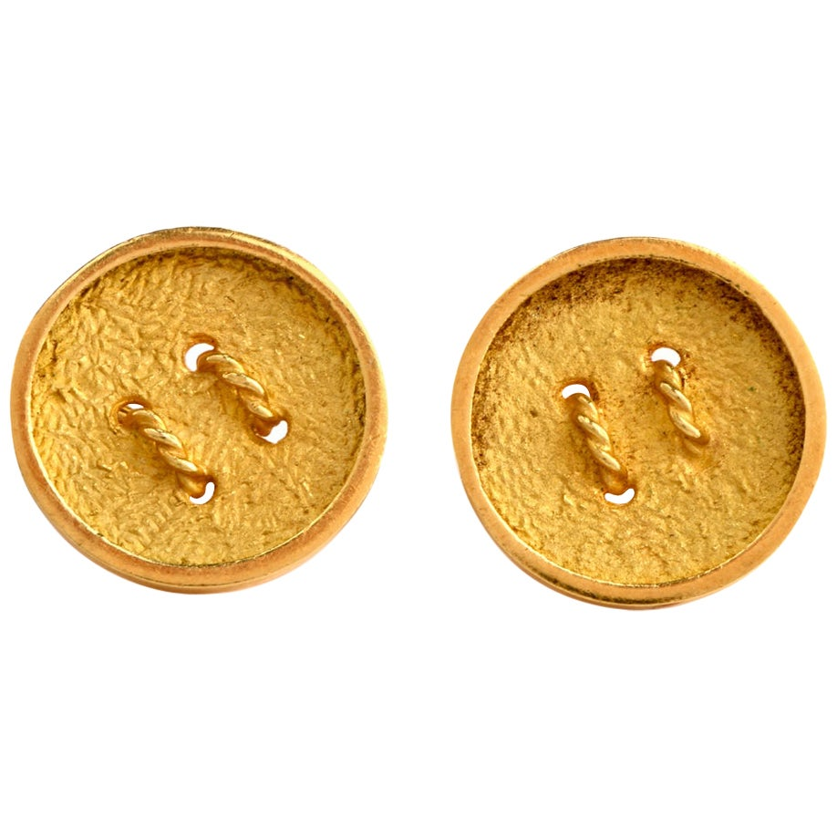 Rope Button 18 Karat Yellow Gold Men's Cufflinks