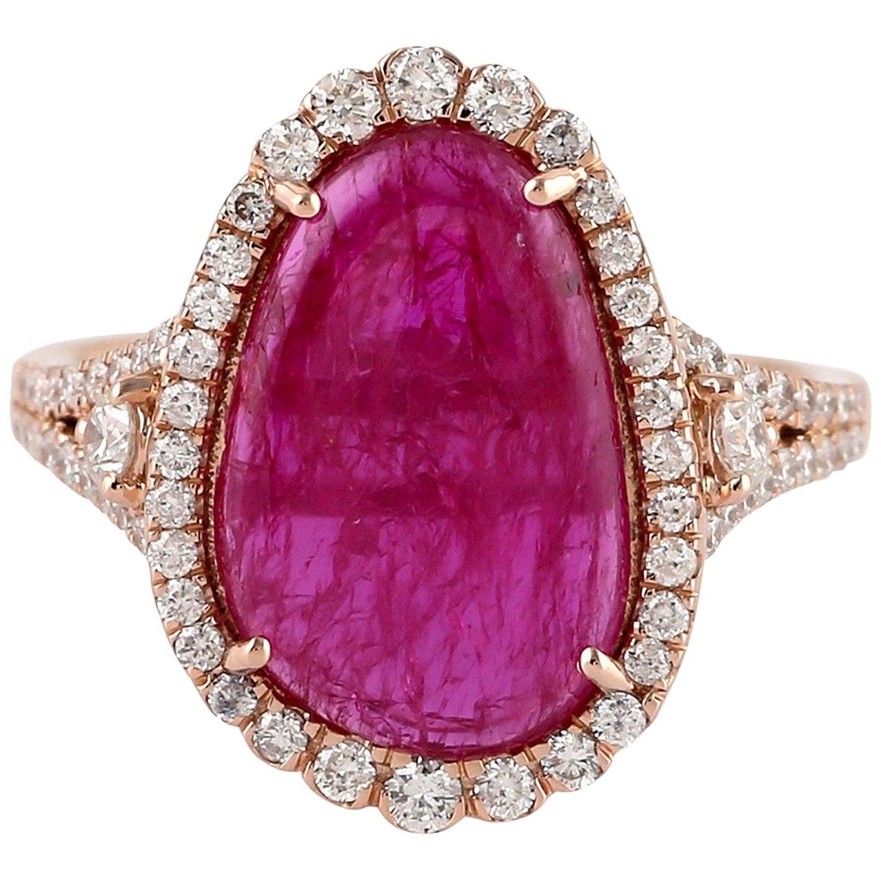 6.83 Carat Ruby Diamond Ring 18 Karat Yellow Gold