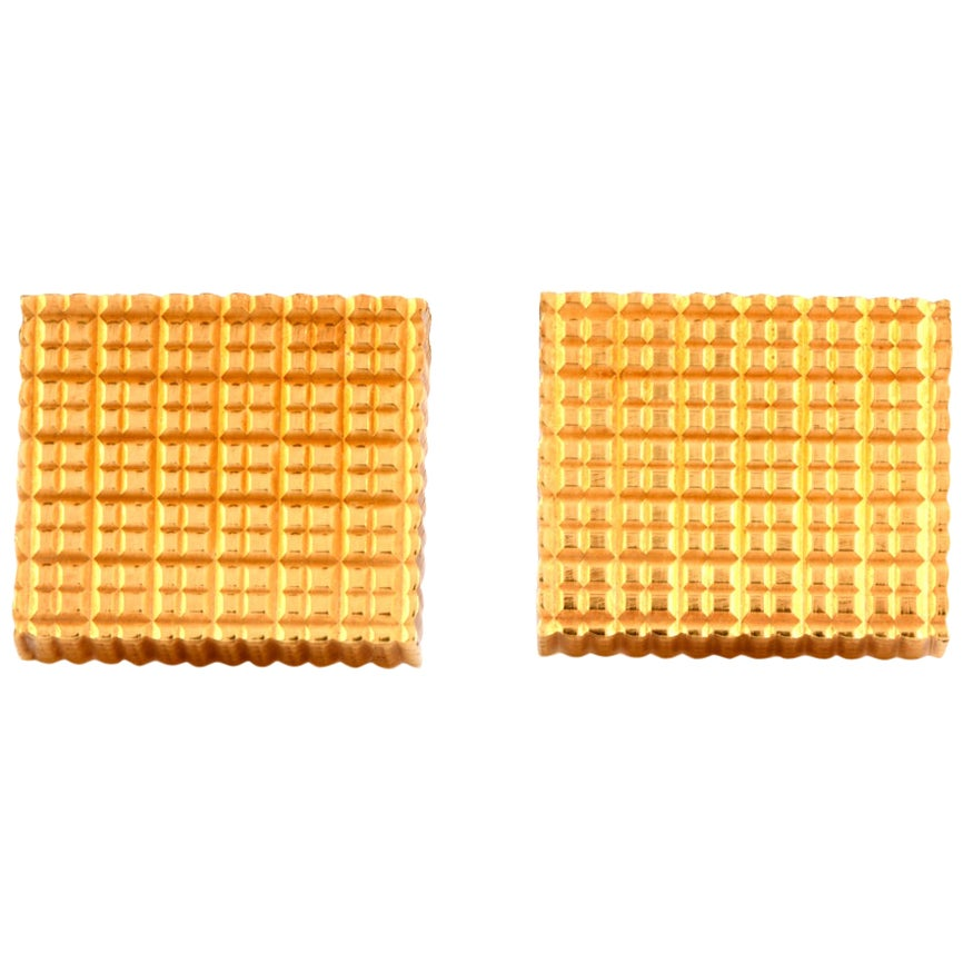 Swiss Cube 18 Karat Yellow Gold Men's Cufflinks