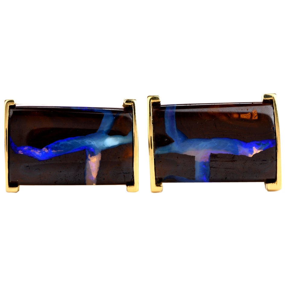 Boulder Opal 18 Karat Yellow Gold Men's Cufflinks