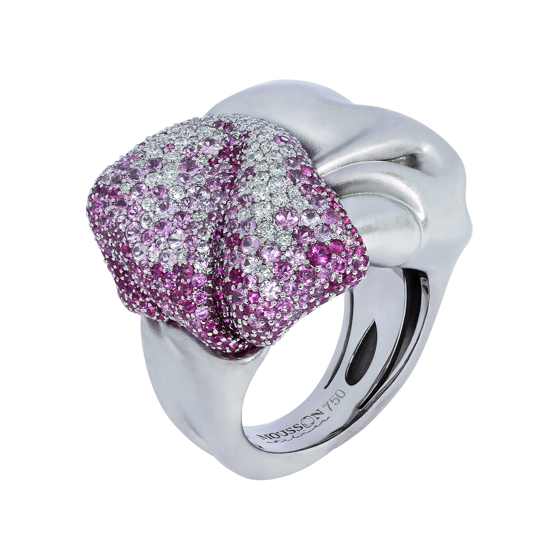 Pink Sapphires Diamonds 18 Karat White Gold Ring