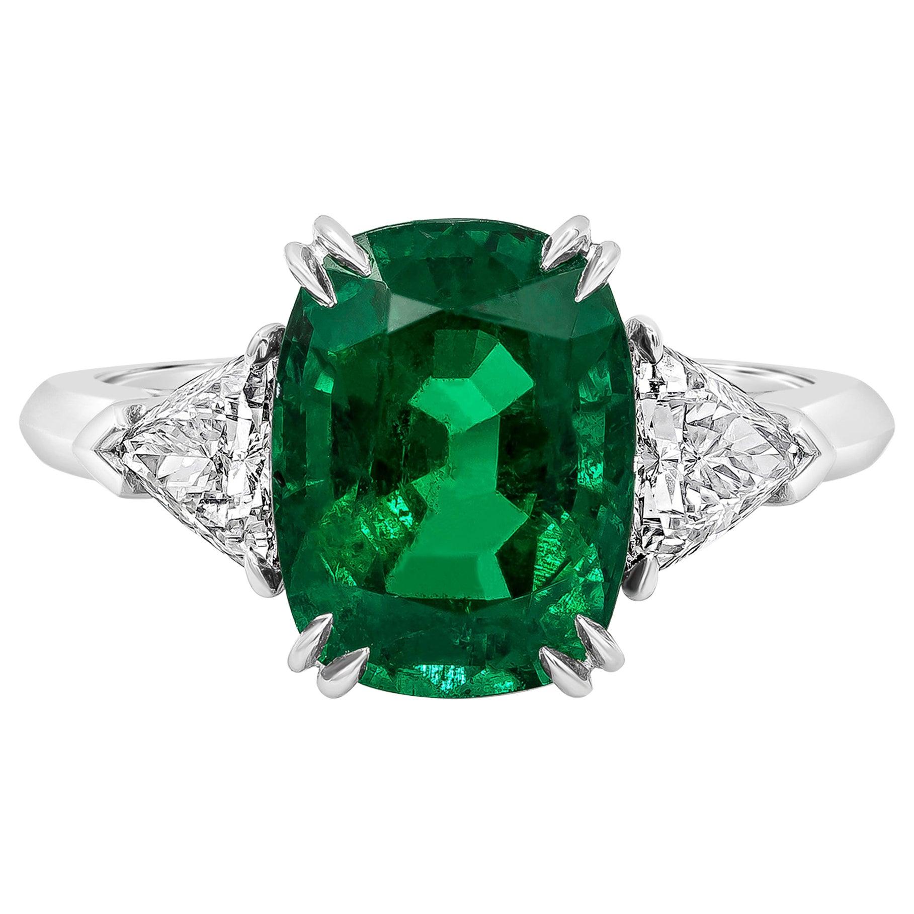 Roman Malakov, Cushion Cut Emerald and Diamond Three-Stone Engagement Ring