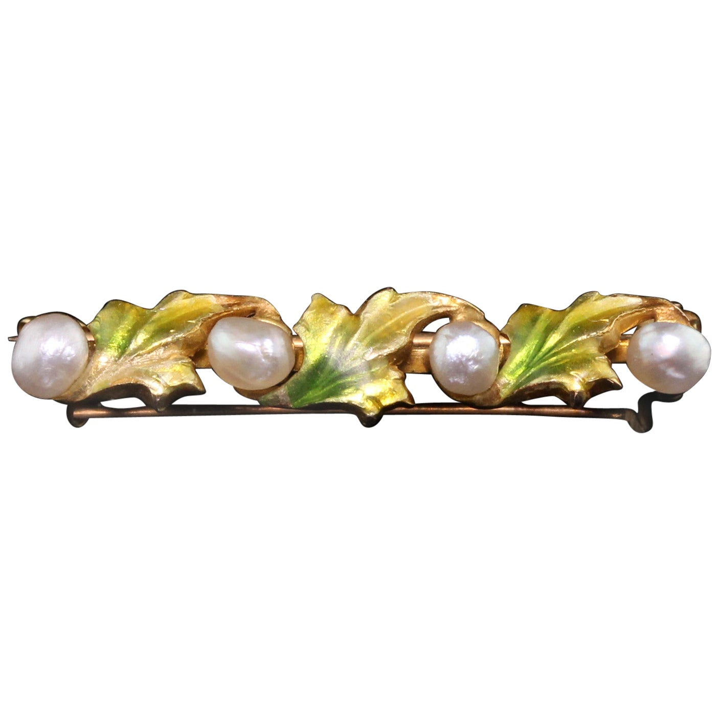 Antique Art Nouveau 14 Karat Yellow Gold, Pearl and Enamel Leaf Bar Brooch