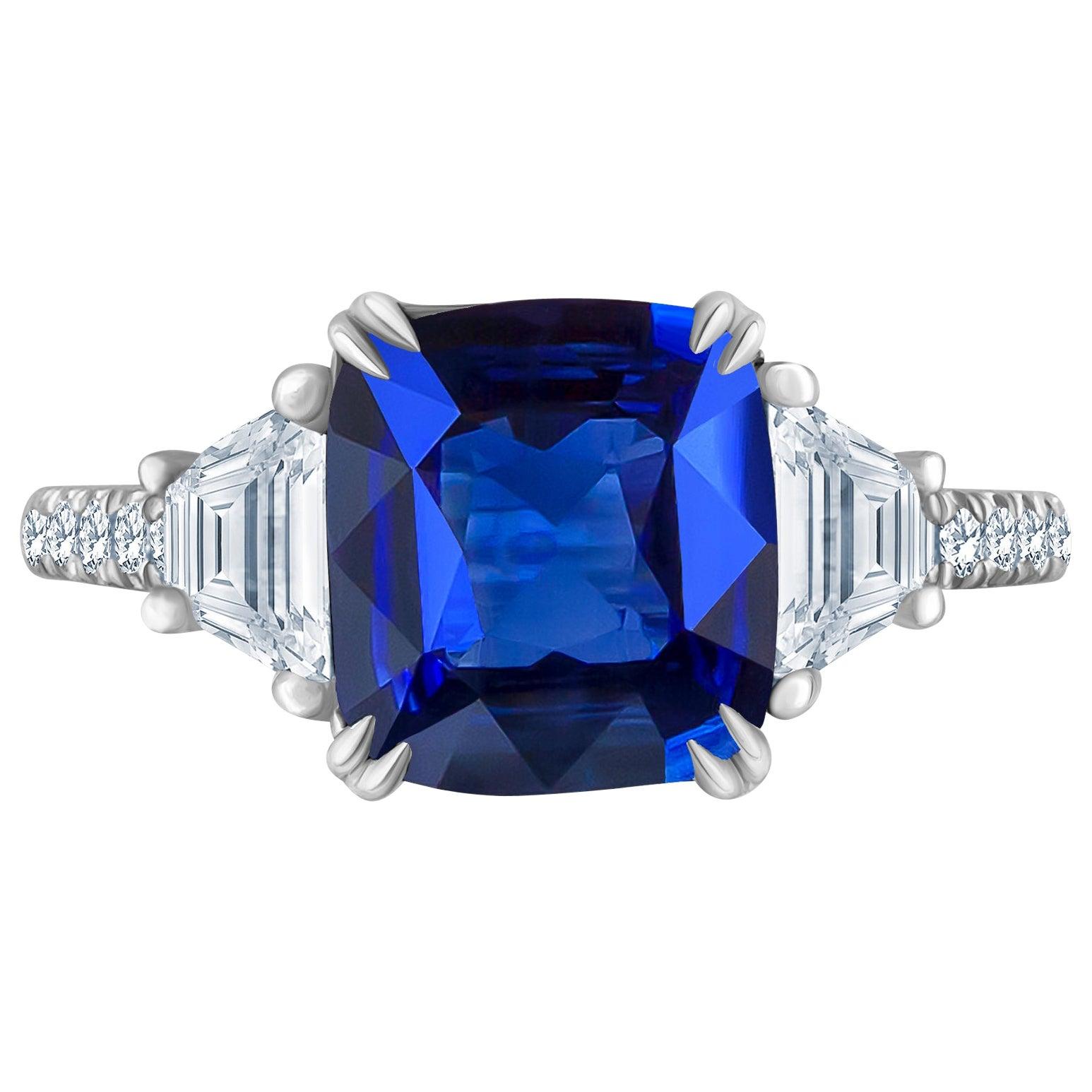 Emilio Jewelry 4.24 Carat Vivid Blue Sapphire Diamond Ring