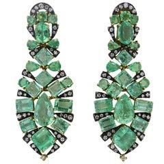 Marilyn Cooperman Impressive Emerald Diamond Silver Gold Earrings
