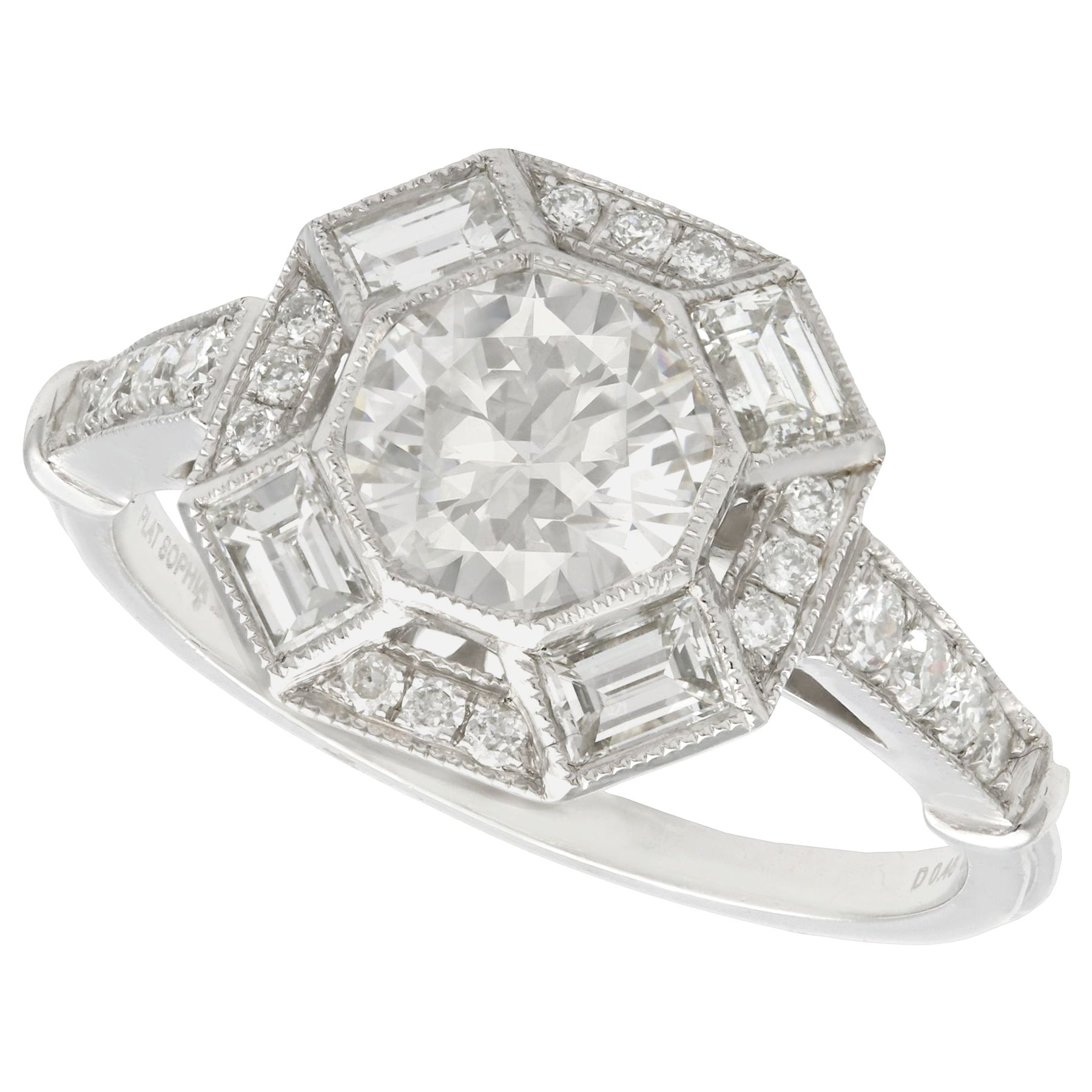 Hallmarked 1.79 Carat Diamond and Platinum Cocktail Ring
