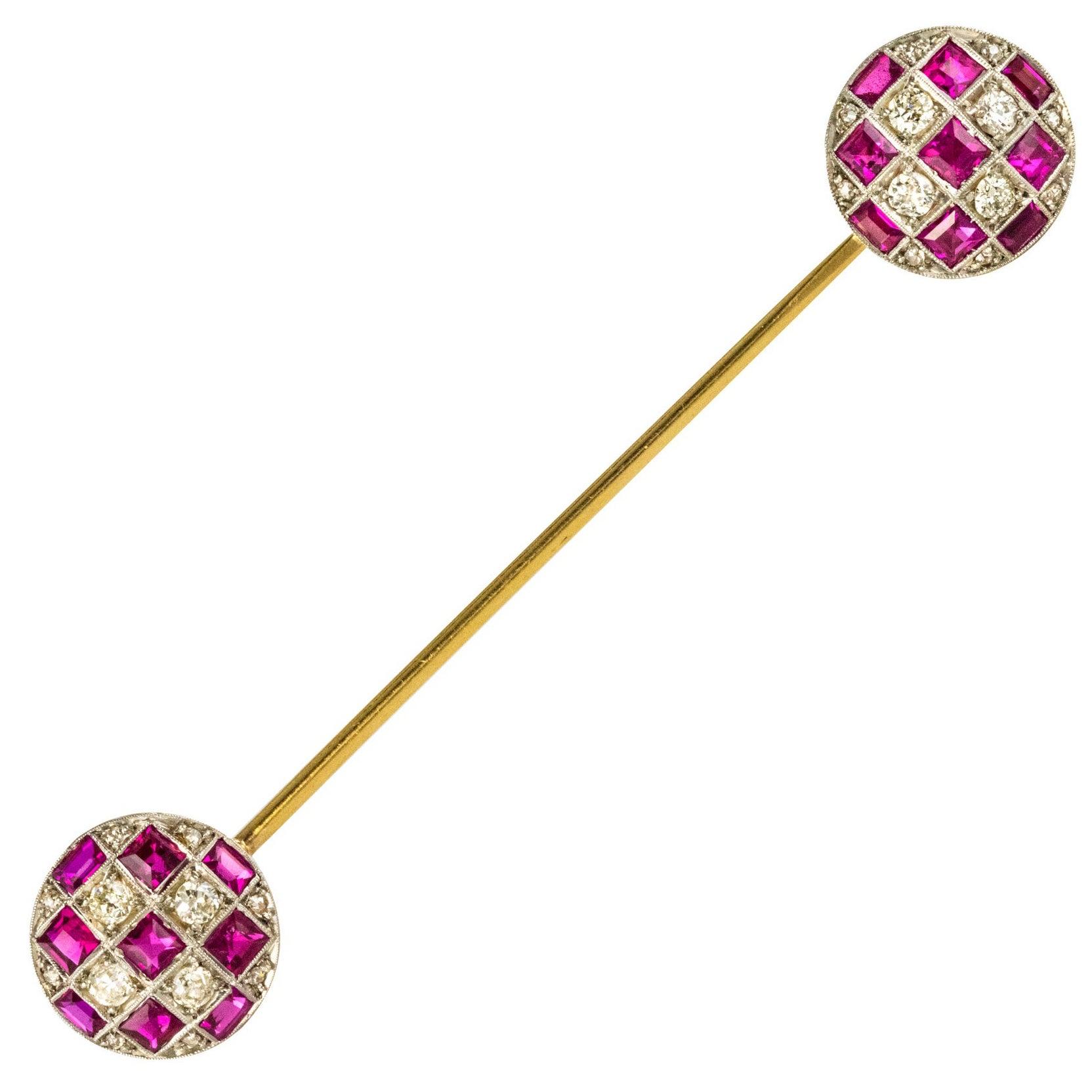1900s Ruby Diamond Yellow Gold Jabot Pin