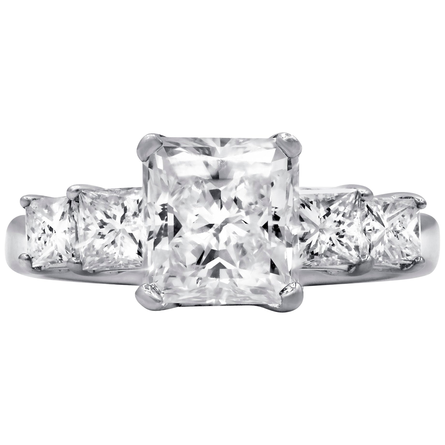 GIA Certified 3.01 Carat Radiant Cut Diamond Engagement Ring