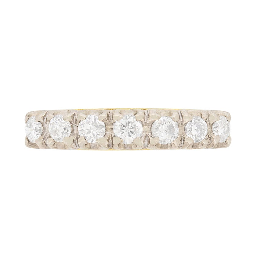 Vintage Seven-Stone Half Eternity Diamond Ring, circa 1980s