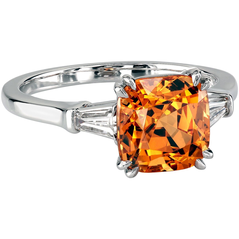 Leon Mege Mandarin Garnet Platinum Three-Stone Ring with Diamond Baguettes