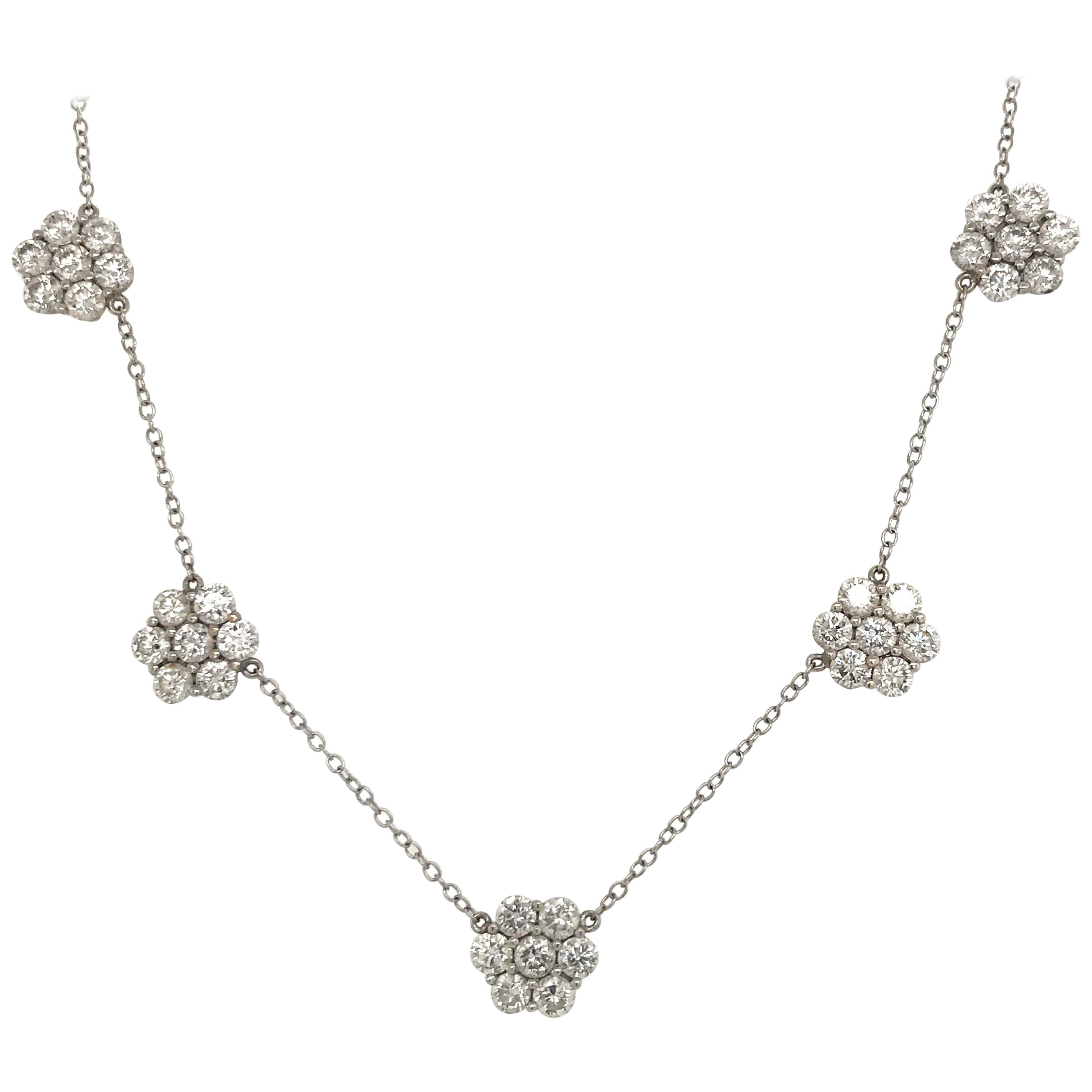 Diamond Cluster Floral Necklace 5.25 Carat 18K White Gold