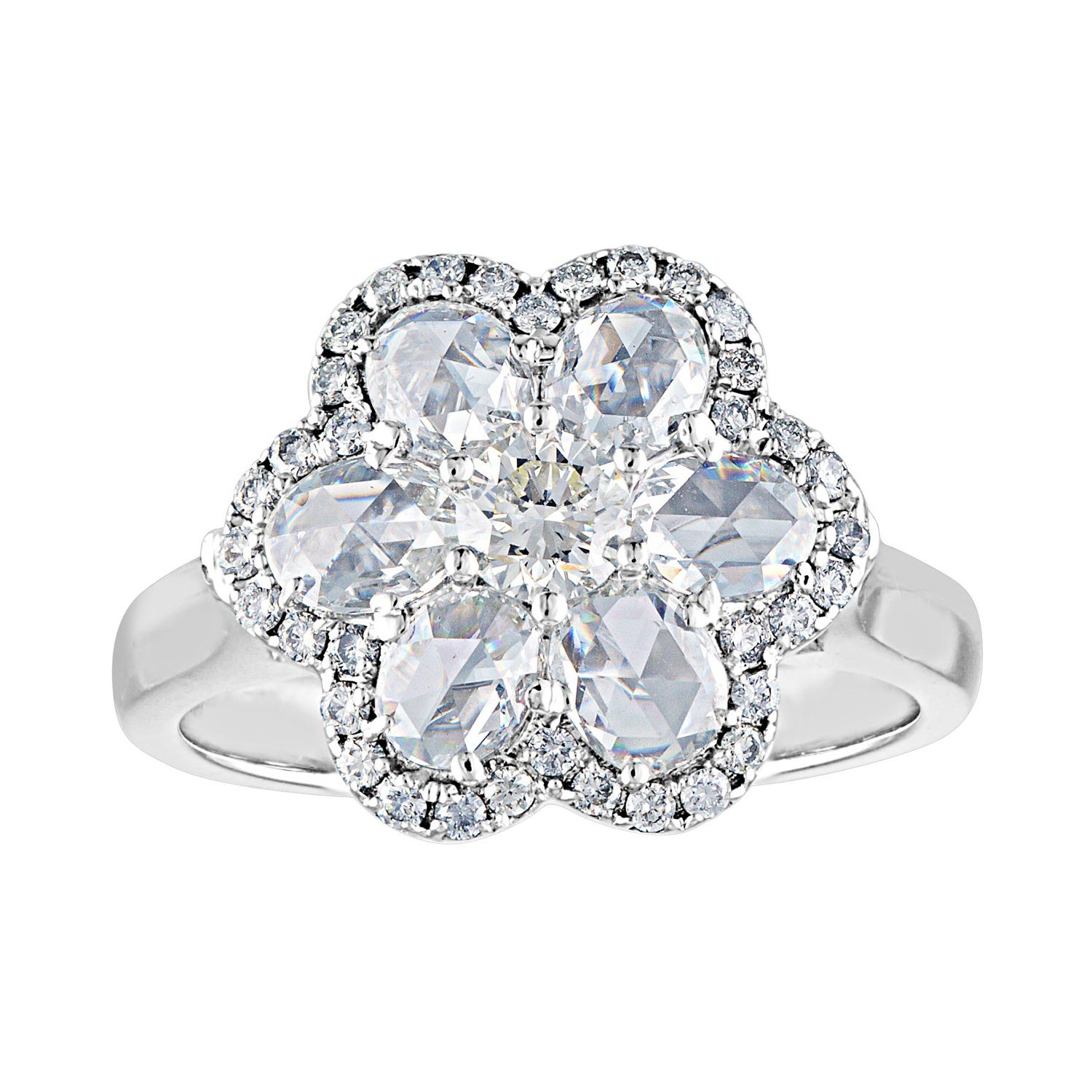 1.65 Carat Rose Cut and Round Diamonds Gold Flower Ring