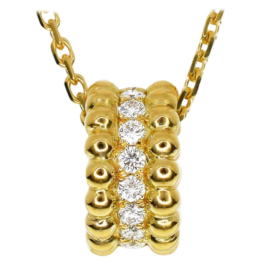 Van Cleef & Arpels 18 Karat Yellow Gold Perlee Diamond Pendant Necklace