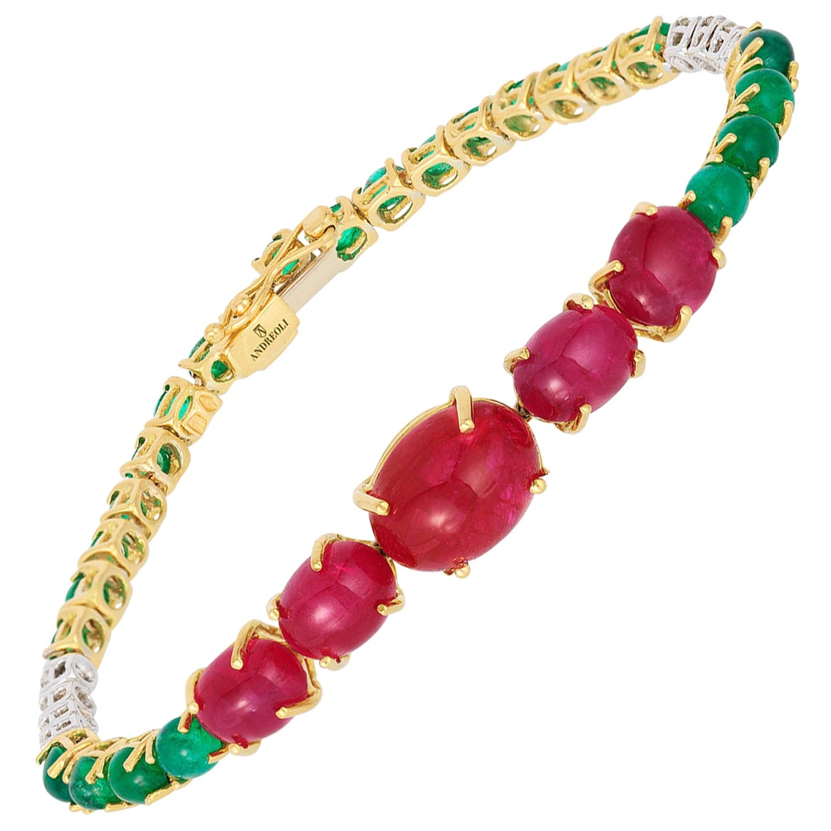 Andreoli Ruby Emerald Cabochon Dome Diamond Tennis Bracelet 18 Karat Yellow Gold