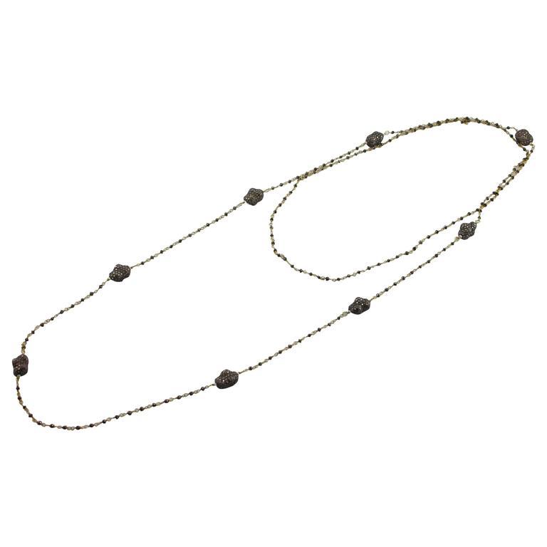 Jona Black Diamond 18 Karat Gold Sautoir Necklace with Ice Diamond Pebbles