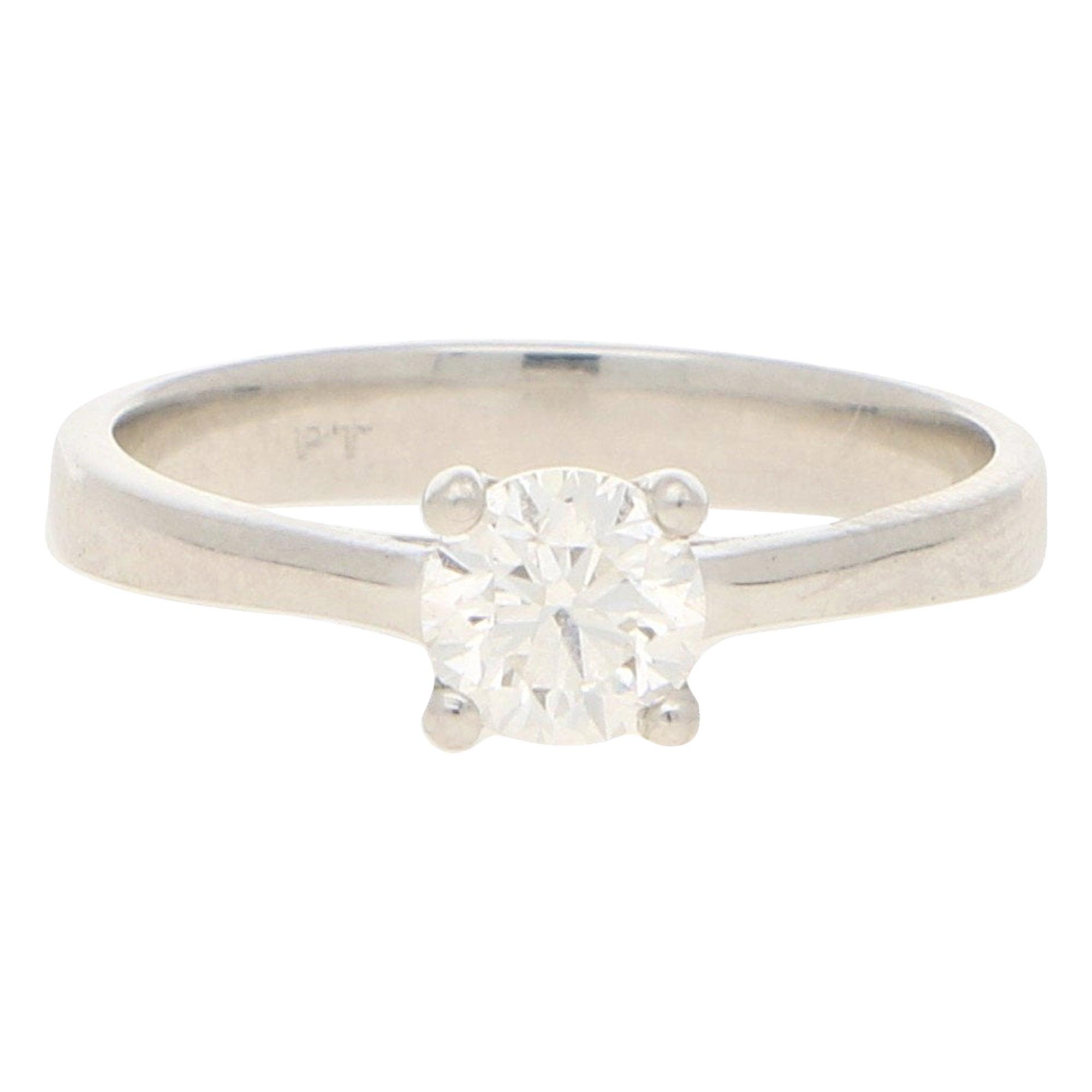Solitaire Diamond  Platinum Engagement Ring 0.51 Carat