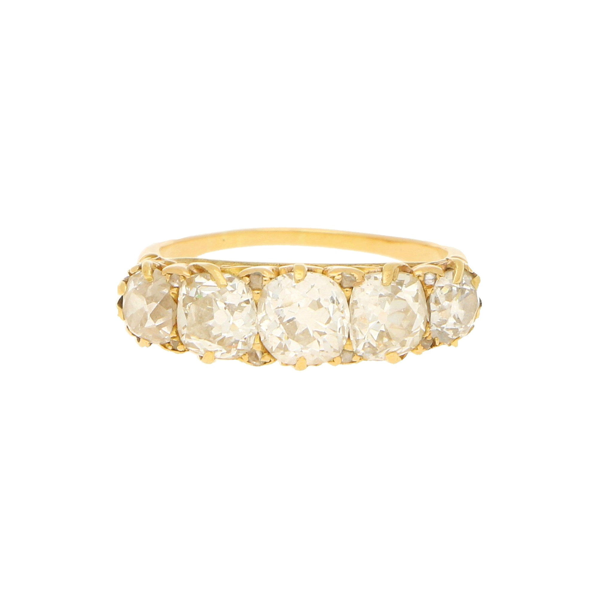 Victorian Old Cut Diamond Five-Stone Engagement Ring in 18k Yellow Gold