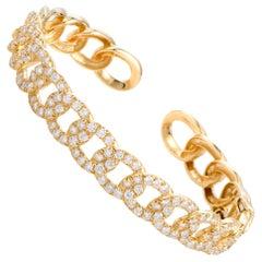 LB Exclusive 18 Karat Yellow Gold Diamond Chain Link Open Bangle Bracelet