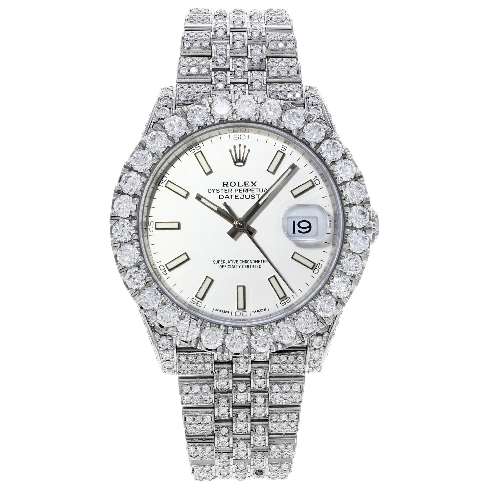 Rolex Datejust 41 126300 Custom Diamonds 20Ct White Stick Dial Automatic Watch