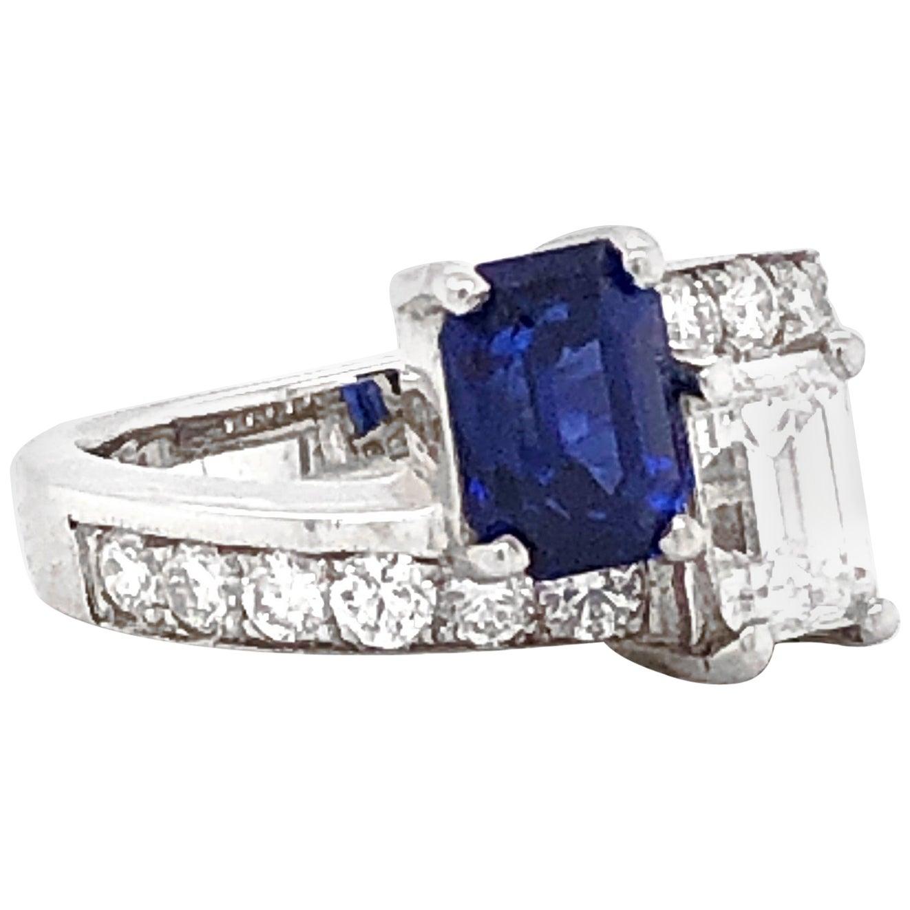 GIA Certified Pair of Emerald Cut Ceylon Sapphire and Diamond Platinum Ring