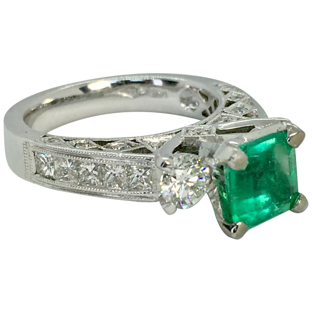 Fine Natural Colombian Emerald Diamond Engagement Ring