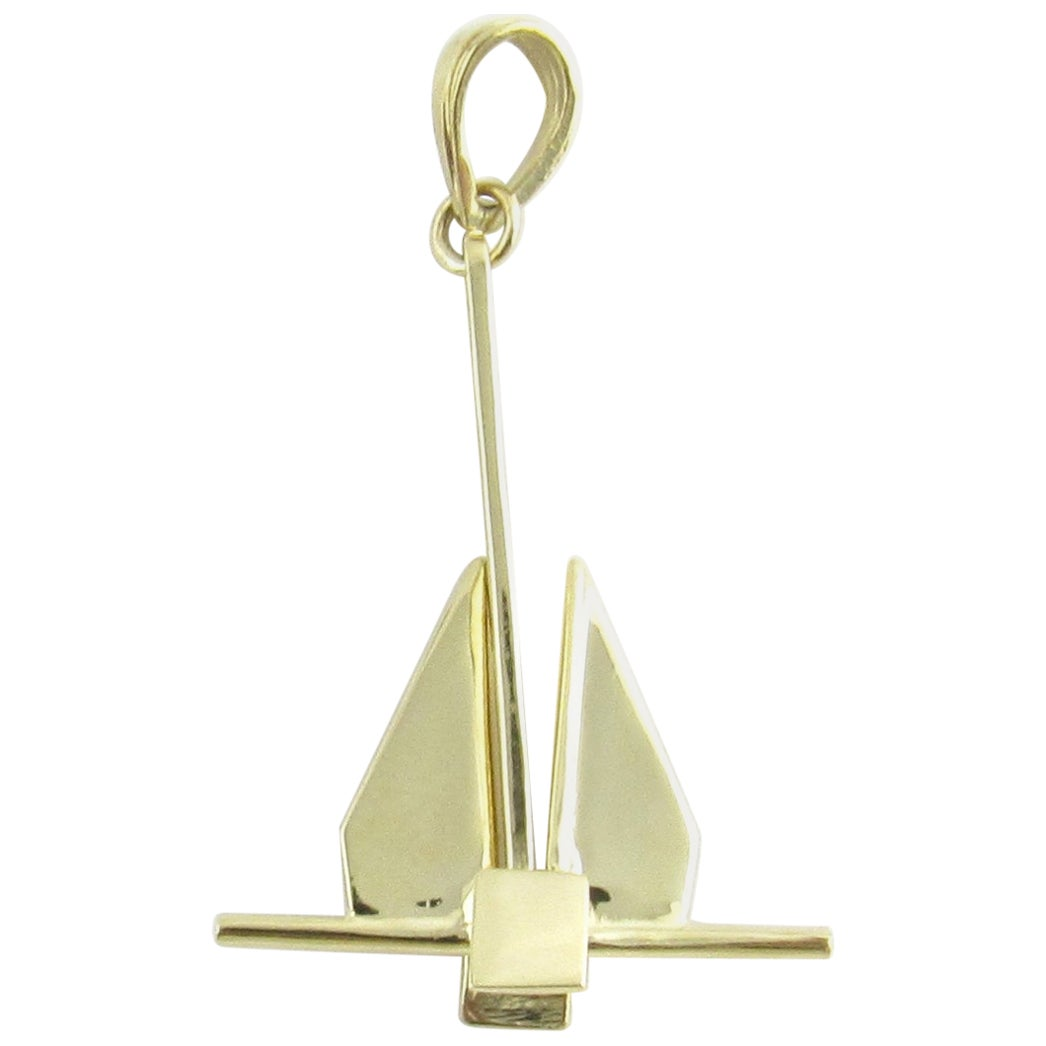14 Karat Yellow Gold Anchor with Movable Stock Pendant
