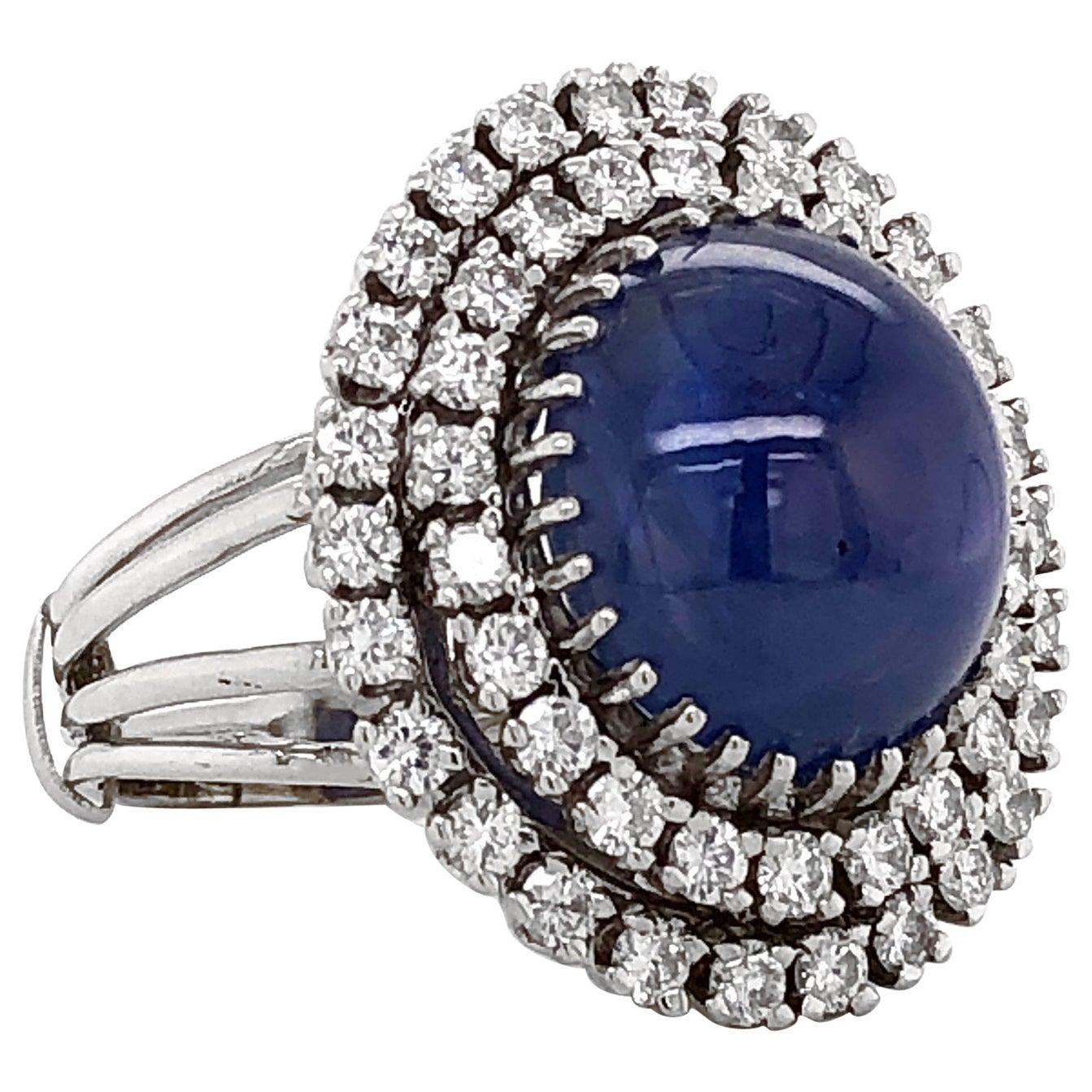 Certified Ceylon Sapphire 30 Carat Cabochon Diamond Platinum Cocktail Ring