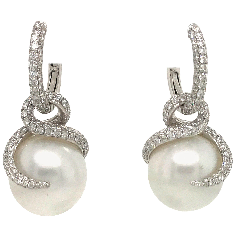 Day and Night Diamond Pearl Flame/Hoop Earrings 3.98 Carat 18 Karat White Gold