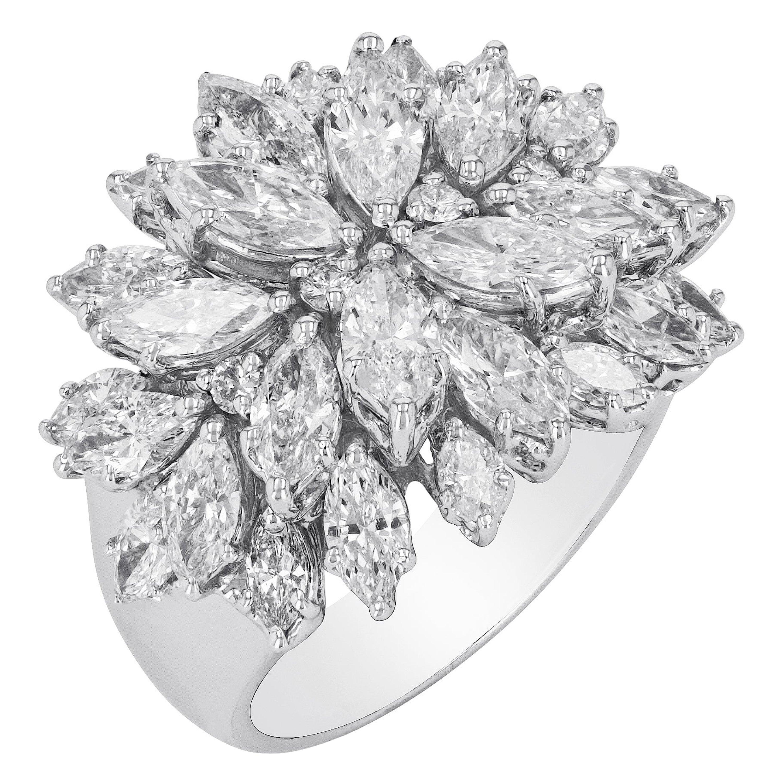 Amwaj Jewelry Diamond Ring in 18 Karat White Gold