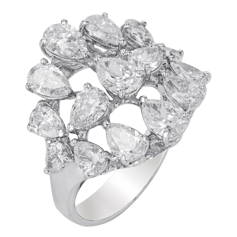 Amwaj Jewelry White Diamond Ring in 18 Karat White Gold
