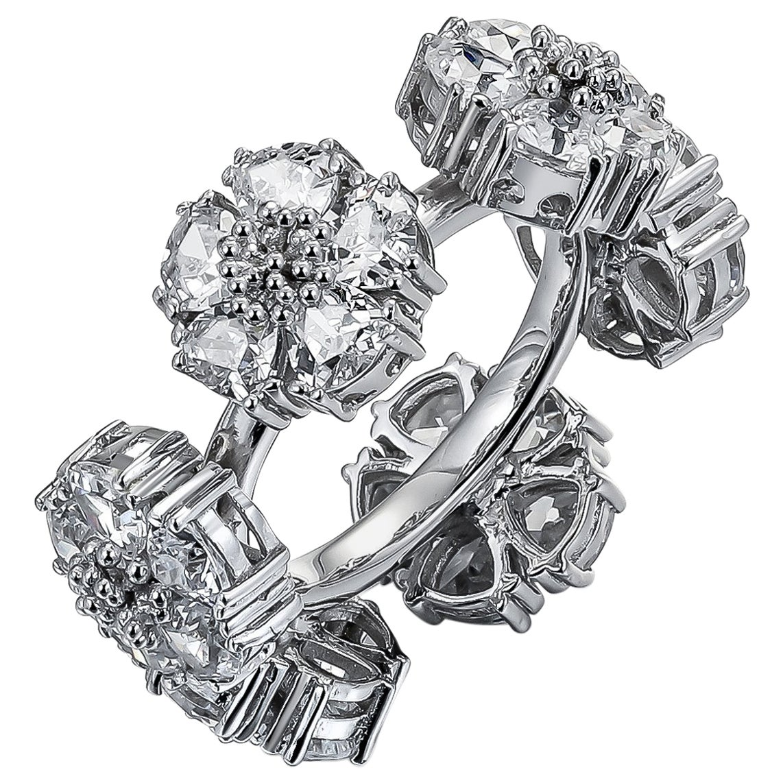 White Topaz Blossom Gemstone Wraparound Ring
