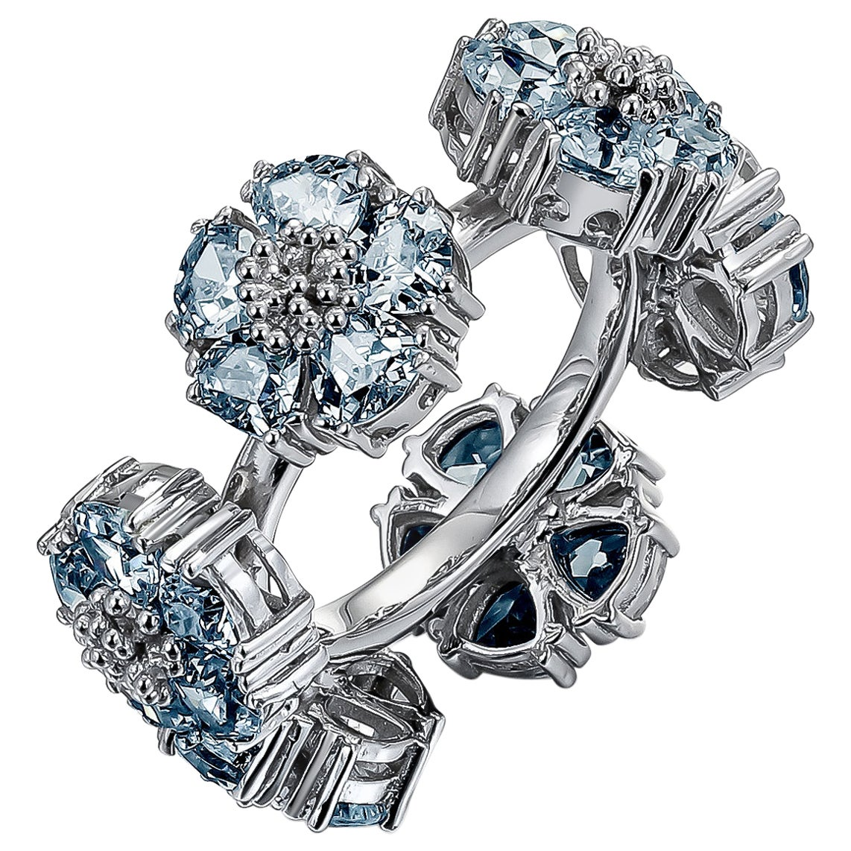 Light Blue Topaz Blossom Gemstone Wraparound Ring