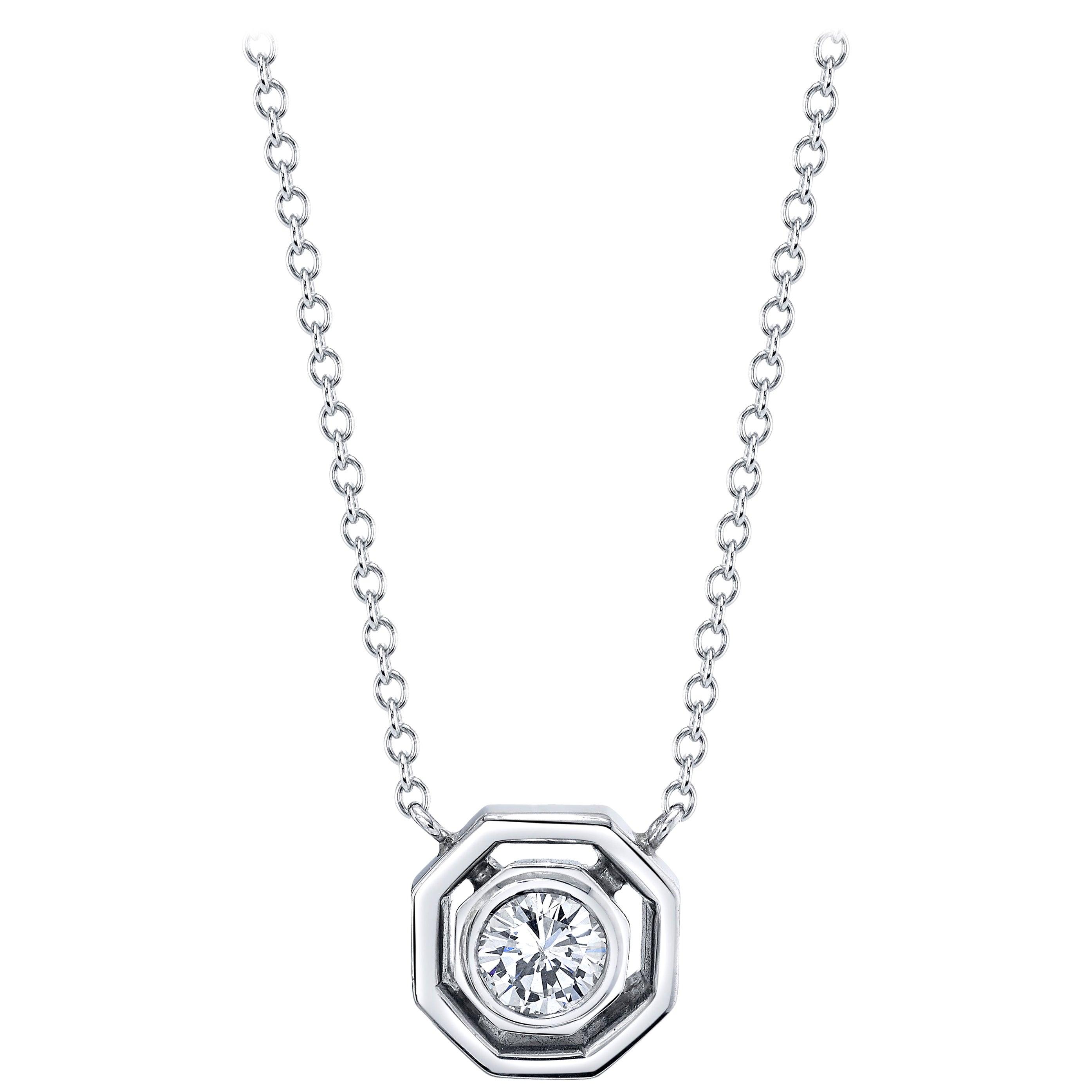 Art Deco Inspired Round Diamond, 18k White Bezel, Drop Pendant Chain Necklace