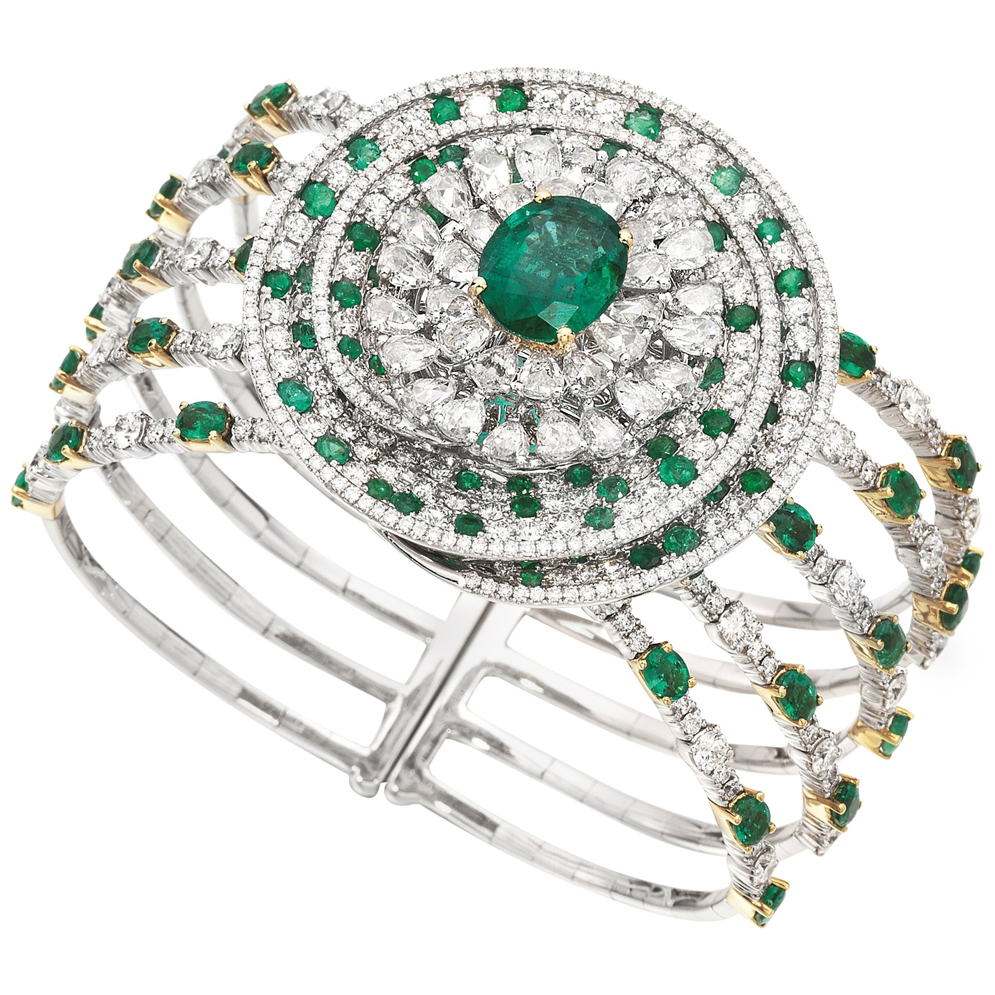 3.86 Carat Oval Emerald Diamond 18 Karat White Yellow Gold Cuff Bangle Brooch