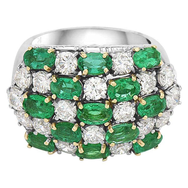 18 Karat Diamond and Emerald Cocktail Ring