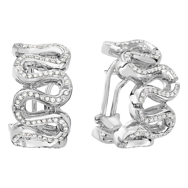 18 Karat White Gold Diamond Pave Swirl Hoop Earrings
