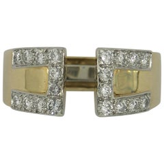 David Webb Diamond Gold Platinum Key Design Split Front Ring