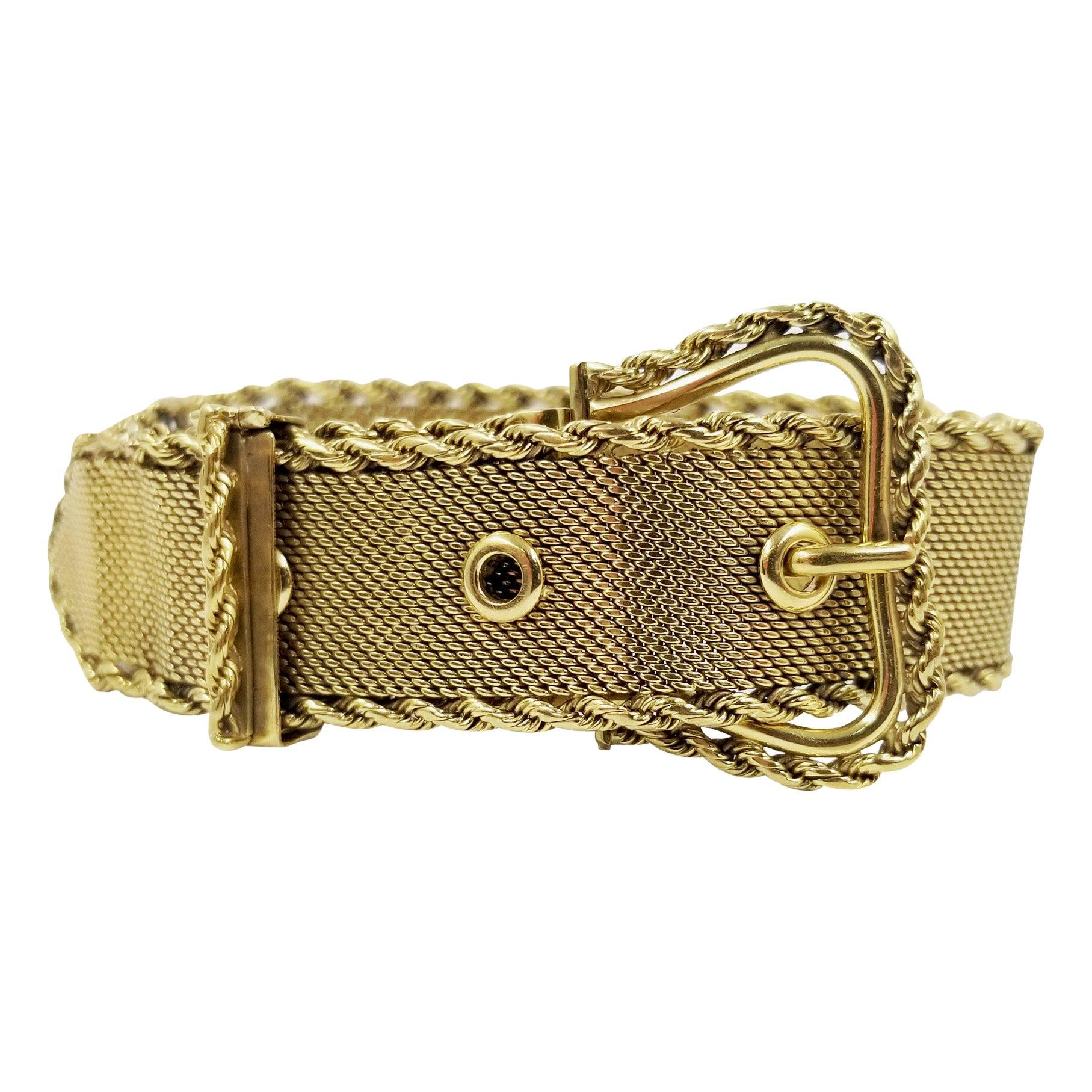 Wide 18 Karat Yellow Gold Antique Mesh Buckle Bracelet