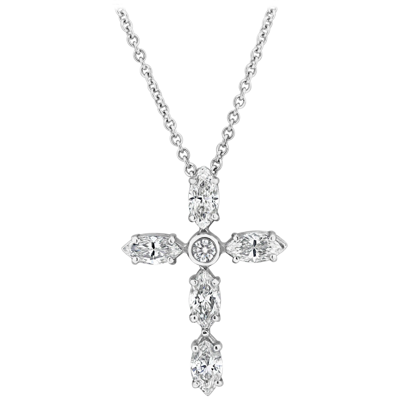 Roman Malakov Marquise Cut Diamond Cross Pendant Necklace