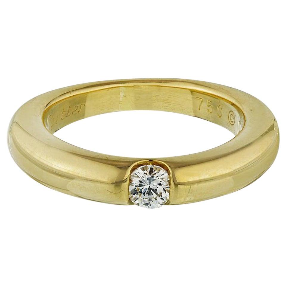 Cartier Solitaire 0.25 Carat Round Cut Diamond Ring 18 Karat Yellow Gold